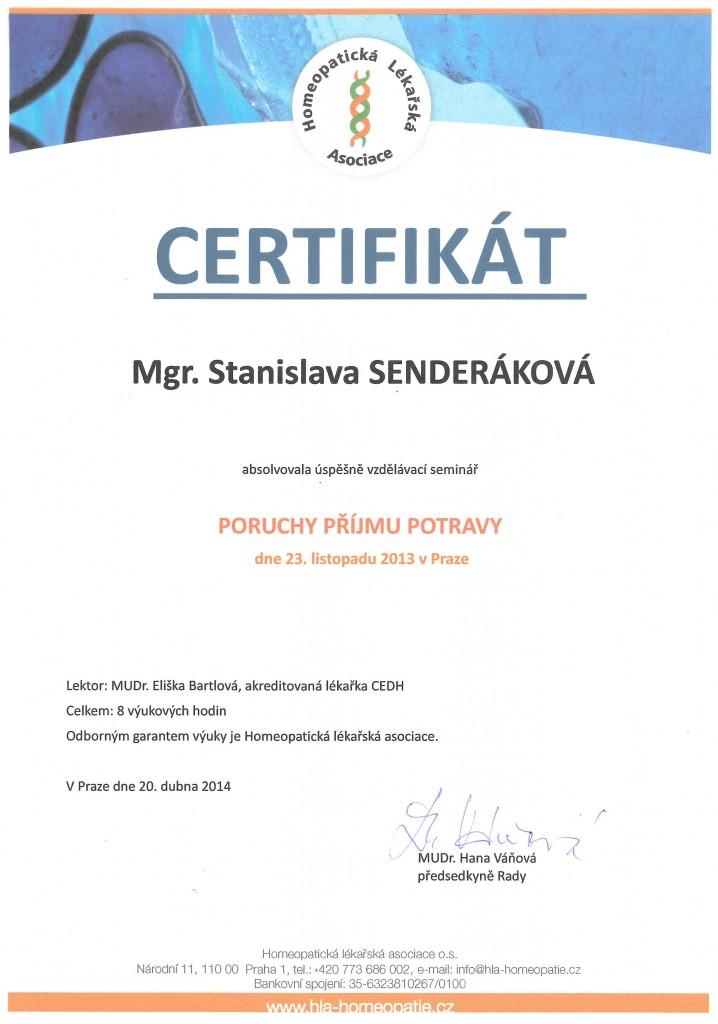 Certifikát - Homeopatická Lékařská Asociace